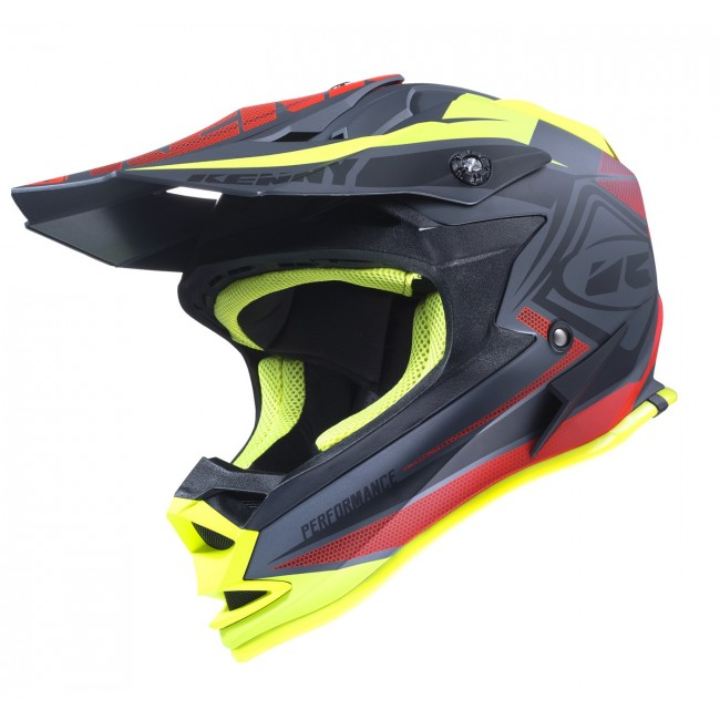 Casque Kenny Performance Noir Mat Rouge Jaune