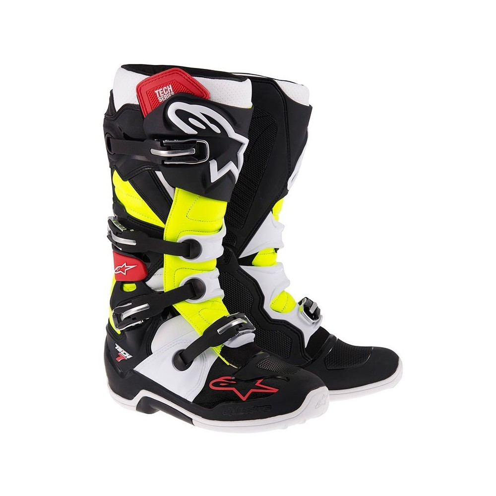 bottes de cross alpinestars tech 7 noir rouge jaune moto and co. Black Bedroom Furniture Sets. Home Design Ideas