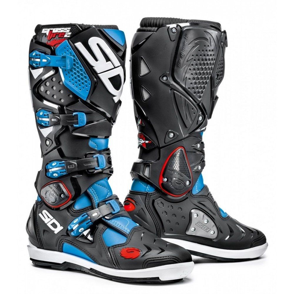 bottes sidi crossfire 2 srs noir turquoise moto and co. Black Bedroom Furniture Sets. Home Design Ideas